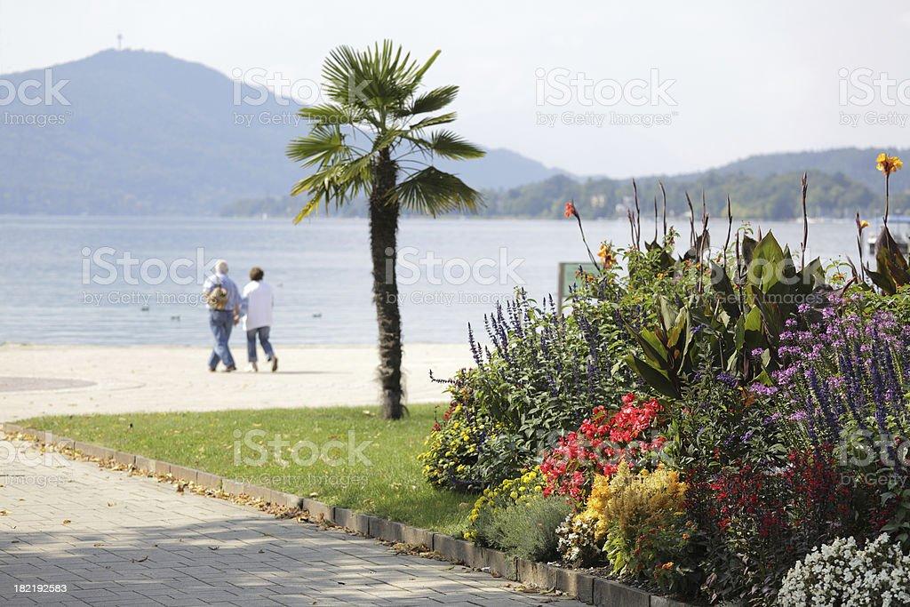 Senior Couple walking through lakeside park (XXXL) royalty-free stock photo
