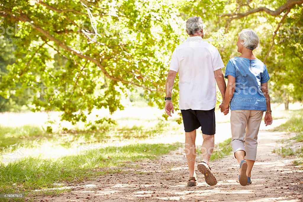 Senior couple walking together in the countryside, back view stock photo