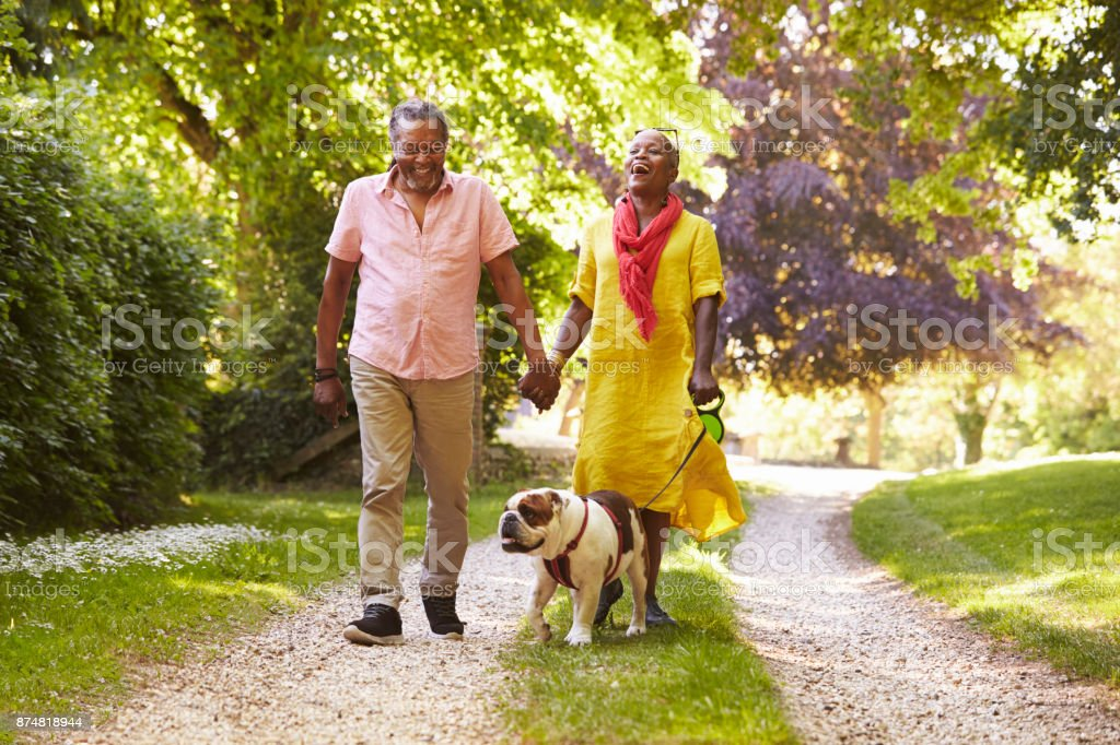 Senior Couple Walking With Pet Bulldog In Countryside stock photo