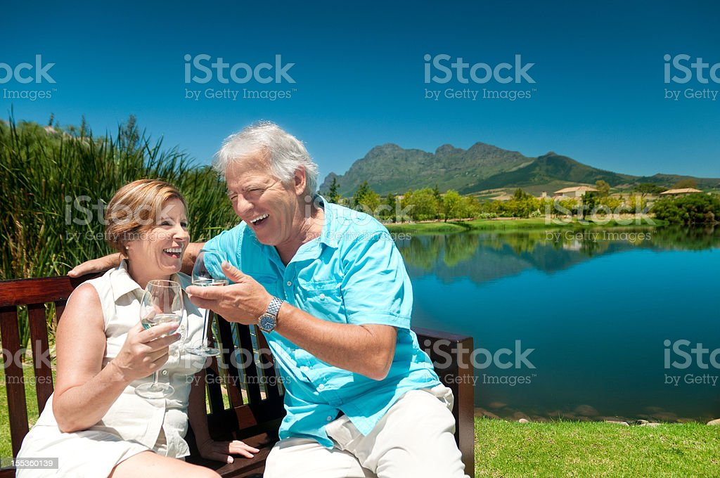 Senior couple wine tasting in South Africa royalty-free stock photo
