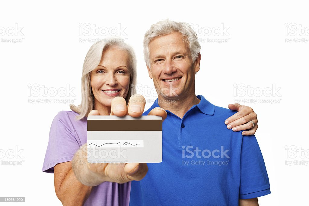 Senior Couple With Credit Card - Isolated royalty-free stock photo