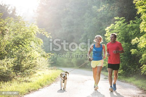 istock Senior couple with dog running in green sunny nature 612392982