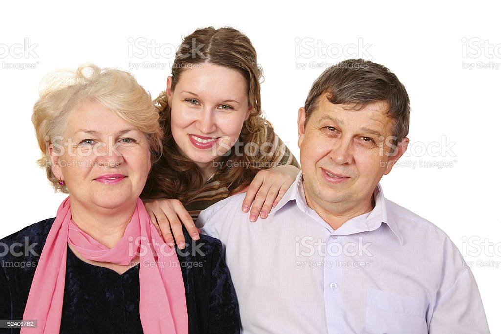 senior couple with girl royalty-free stock photo