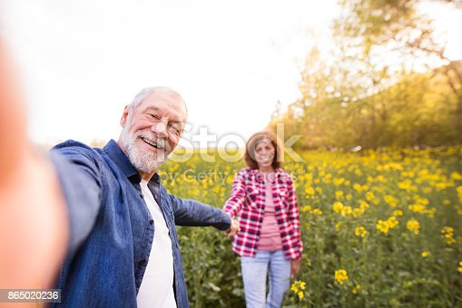 Beautiful senior couple in love on a walk outside in spring nature. Man and woman taking a selfie with a smartphone.