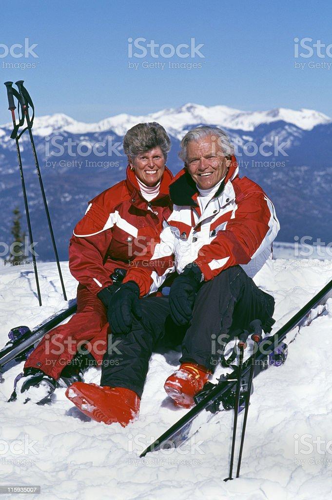 Senior Couple with Snow Skis royalty-free stock photo