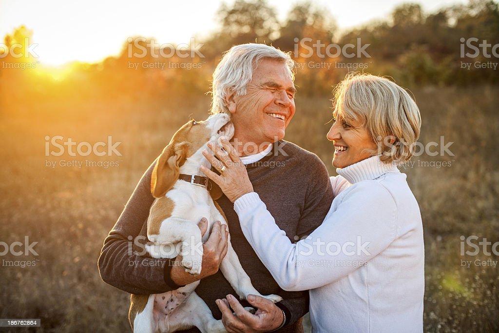 Senior couple with their puppy stock photo