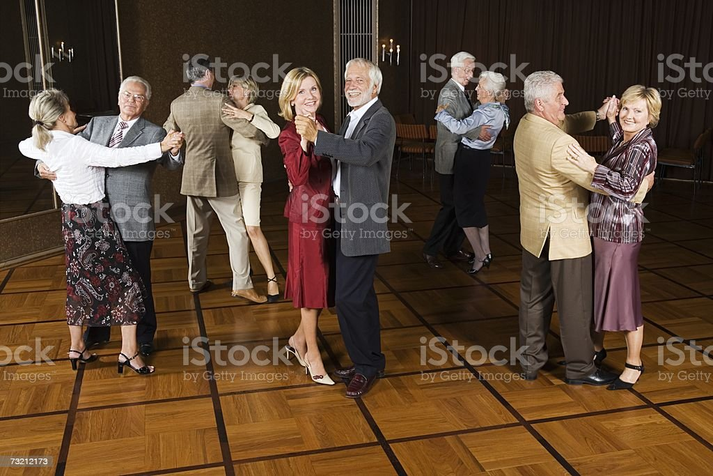 Senior couples dancing stock photo