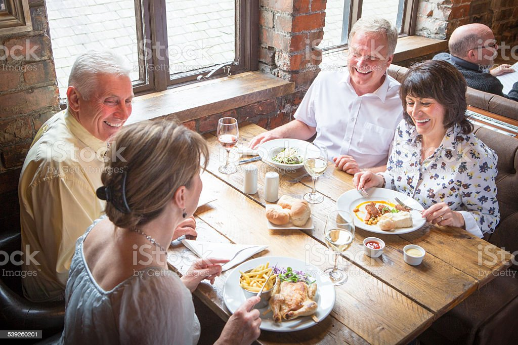 Senior Couples out for Lunch stock photo