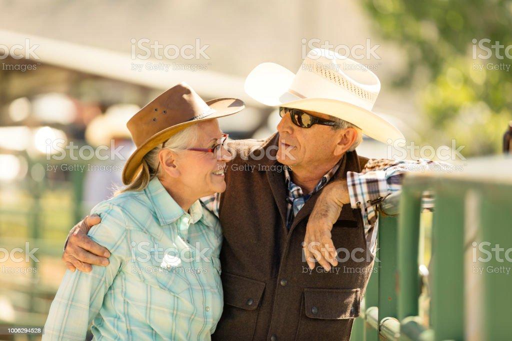 Senior Cowboy Rancher Couple stock photo