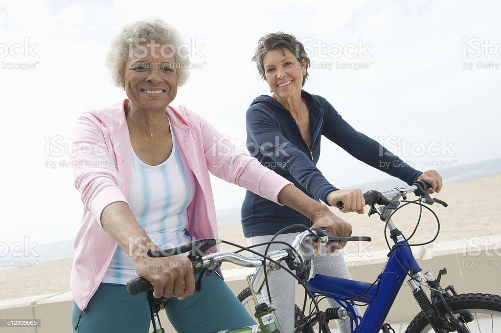 Senior cycling stock photo