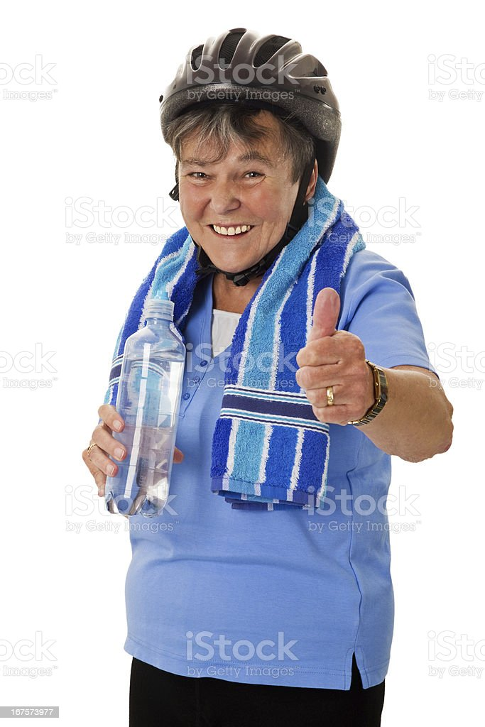 Senior cyclist woman with water bottle royalty-free stock photo
