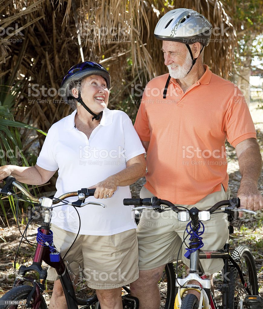 Senior Cyclists In Love royalty-free stock photo