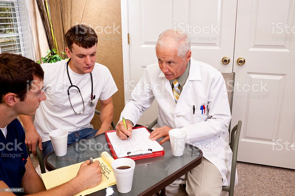 Senior doctor mentoring young interns. royalty-free stock photo