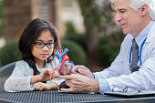 Confident Caucasian senior doctor talks with a young Asian girl about the human heart. He is using an artificial heart model. They are an at outdoor medical clinic. The girl has black hair in a braid and is wearing glasses. She is pointing to something on the heart. The doctor is wearing a shirt and tie and has a stethoscope around his neck.