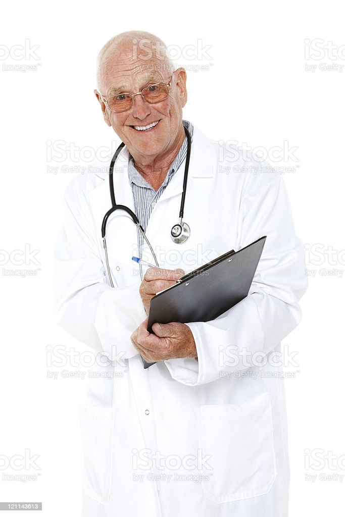 Senior Doctor Writing on a Clipboard - Isolated royalty-free stock photo