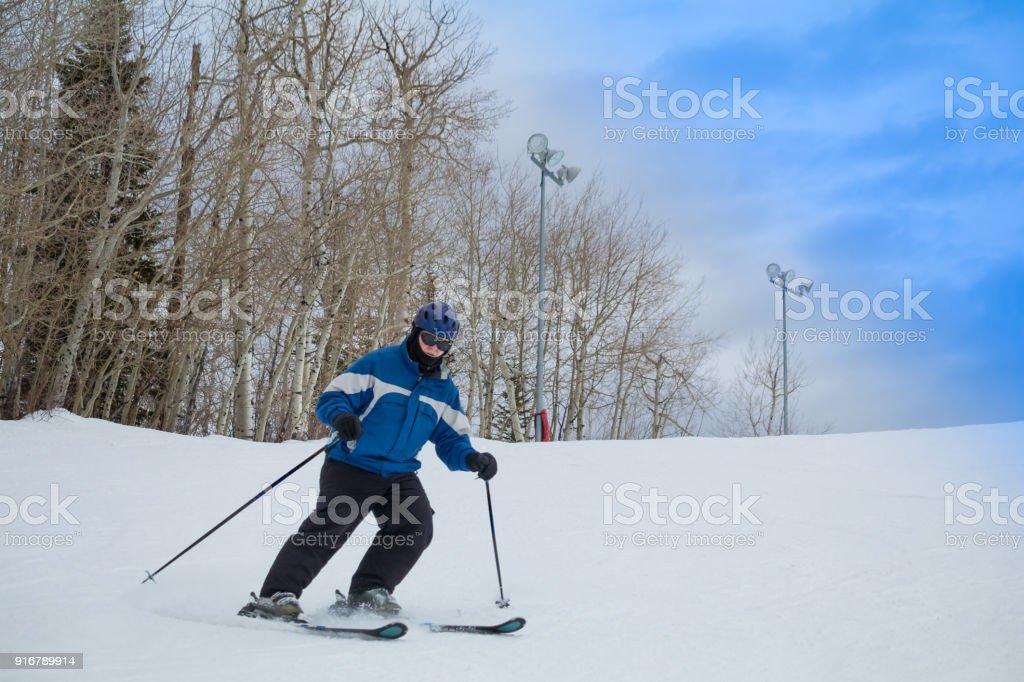 Senior downhill skier stock photo