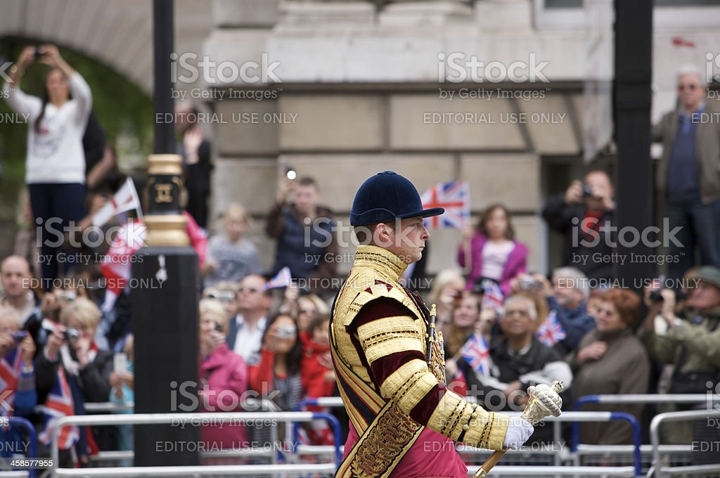 Senior Drum Major at the Queen's Diamond Jubilee State procession stock photo