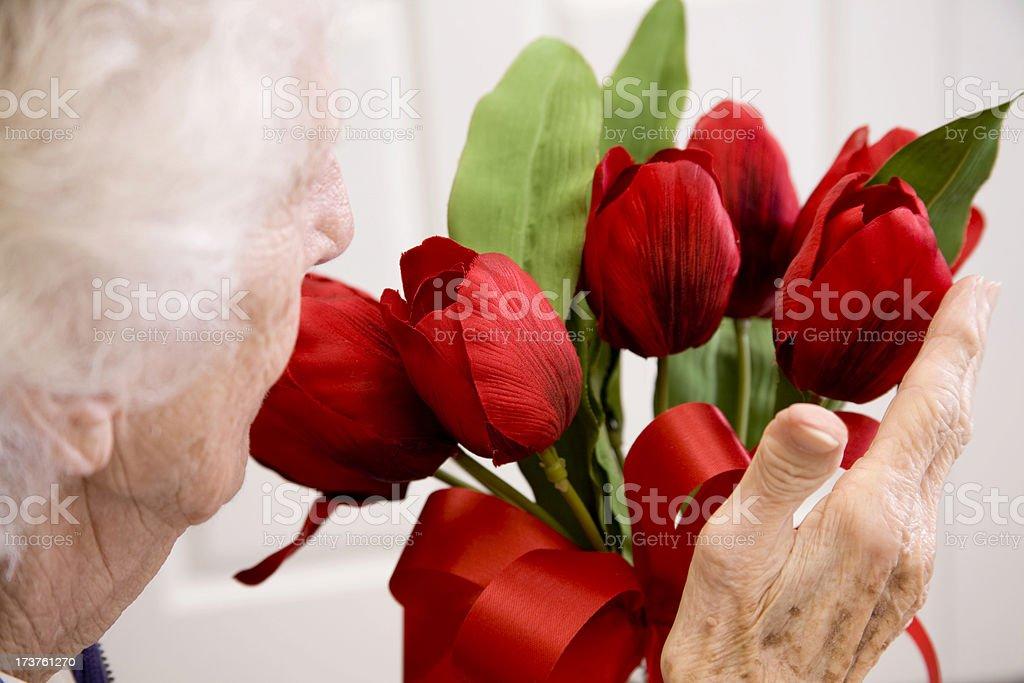 Senior, elderly woman receiving red flowers. Valentine's Day. Nursing home. royalty-free stock photo