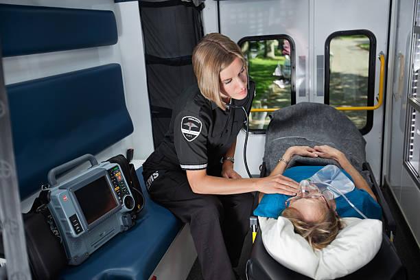 Senior Emergency Care in Ambulance stock photo