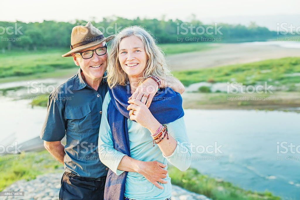 Senior european couple near a river stock photo