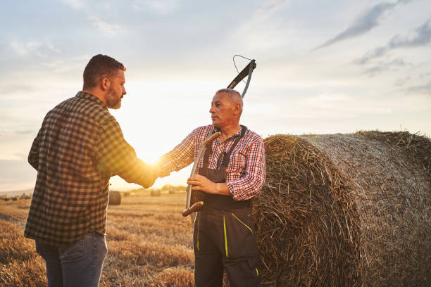 Senior farmer and an agronomist shaking hands in an agreement on an agricultural field stock photo