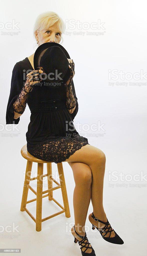 Senior Female Hiding  Her Face stock photo