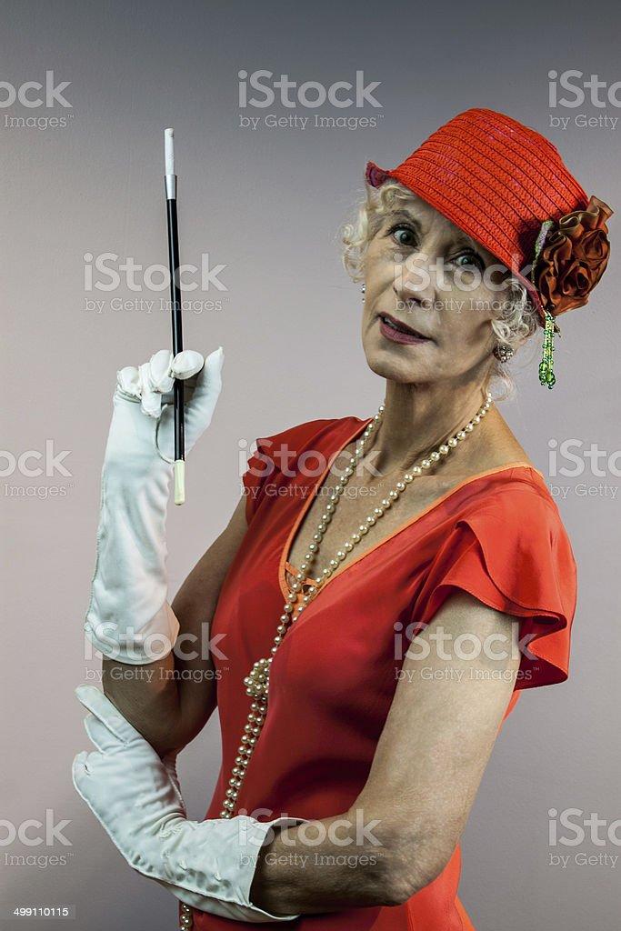 Senior Female In A Dramatic Pose stock photo