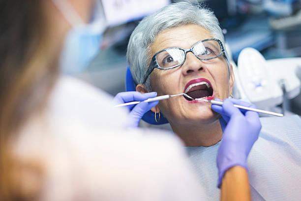 Senior female patient at dentist office – Foto