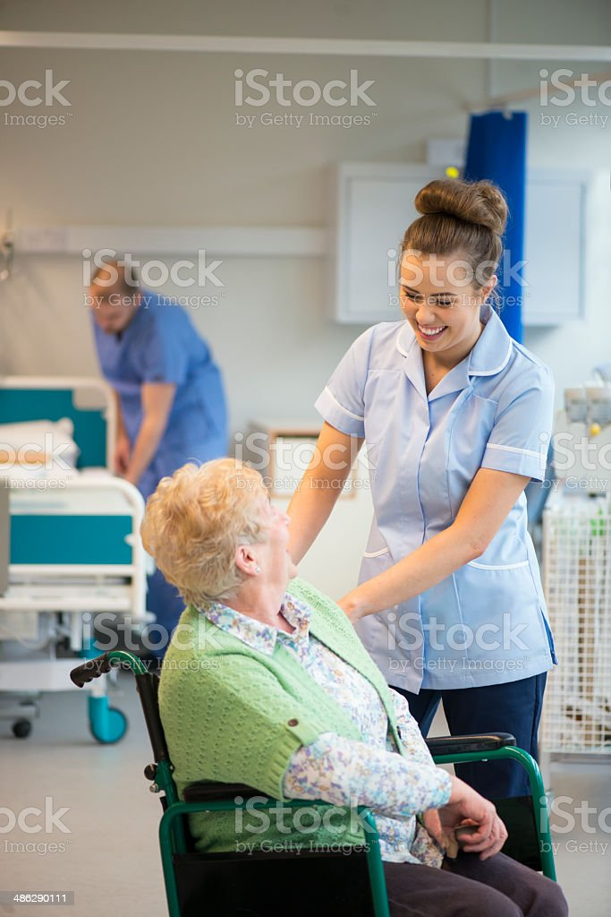 senior female patient in hospital stock photo