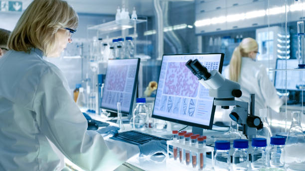senior female scientist works with high tech equipment in a modern laboratory. her colleagues are working beside her. - medical research stock photos and pictures