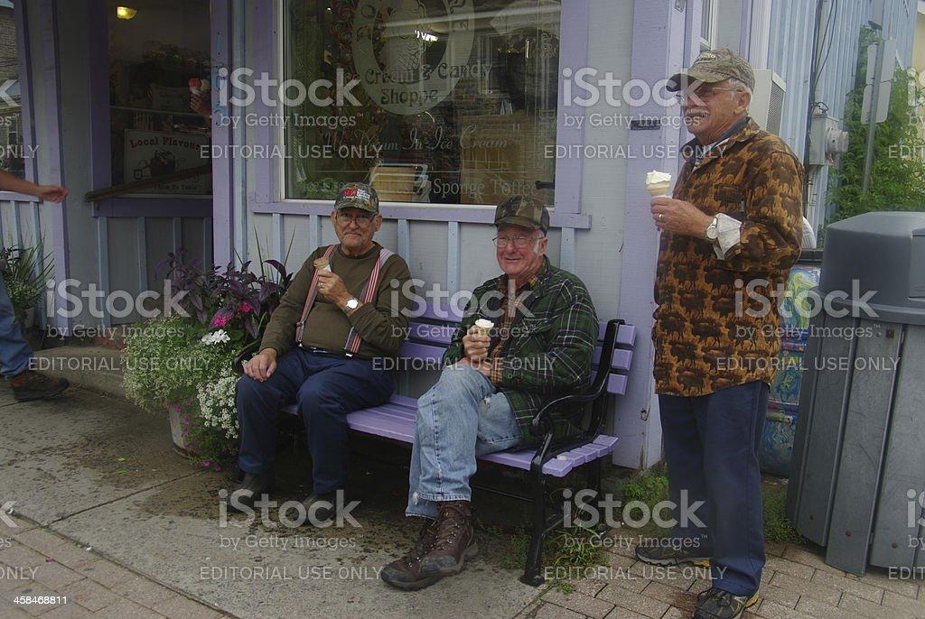 Senior fisherman having a break royalty-free stock photo