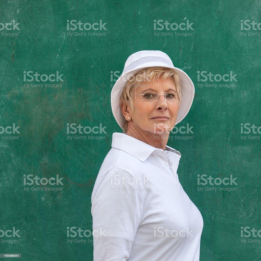 senior french petanque player stock photo