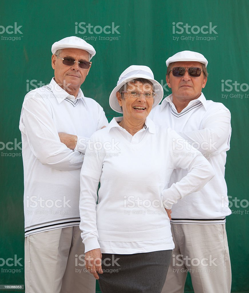 senior french petanque players stock photo