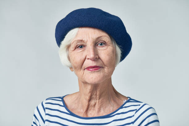 Senior French woman stock photo