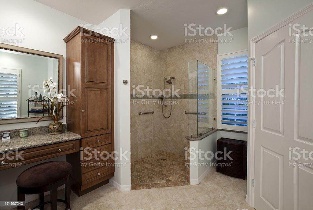 Senior Friendly Bathroom Fresh Remodel royalty-free stock photo