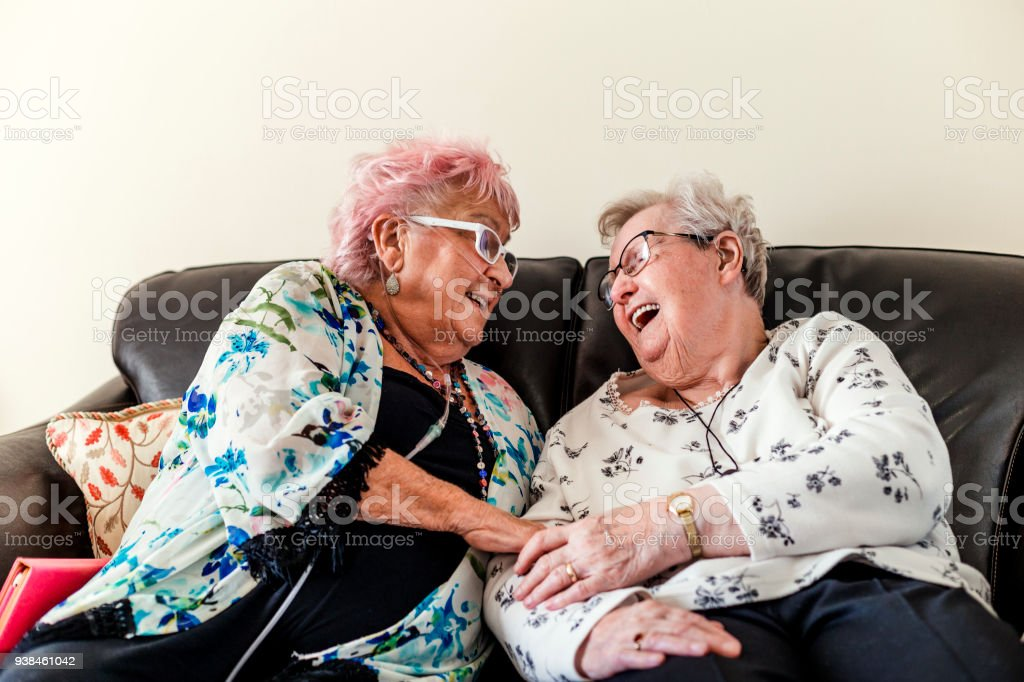 Senior Friends Having a Good Laugh stock photo