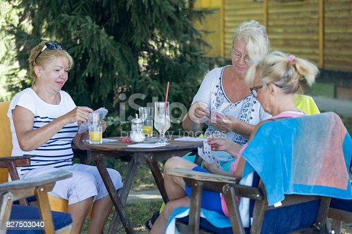 istock Senior friends playing cards 827503040