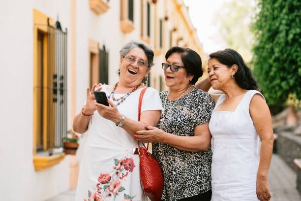 Senior friends Traveling Mexico stock photo