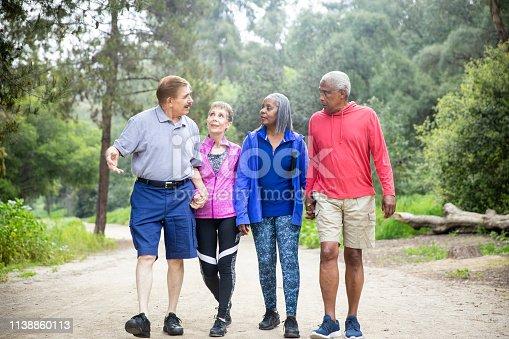1051098428istockphoto Senior Friends Walking on Forest Trail 1138860113