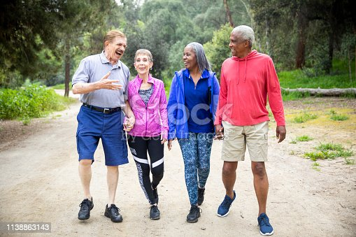 1051098428istockphoto Senior Friends Walking on Forest Trail 1138863143