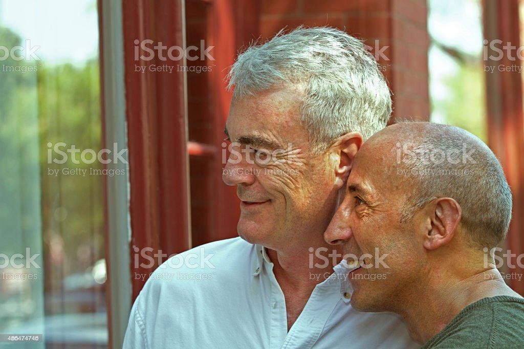 Senior Gay Male Couple Window Shopping on Village Main Street stock photo