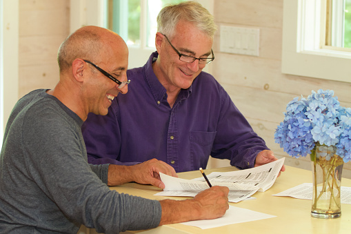 Senior Gay Male Couple Working Together On Financial Documents Stock Photo - Download Image Now