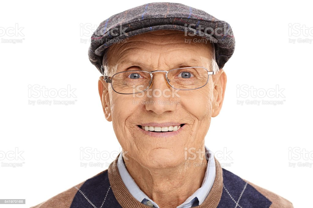 Senior gentleman with a gray beret stock photo