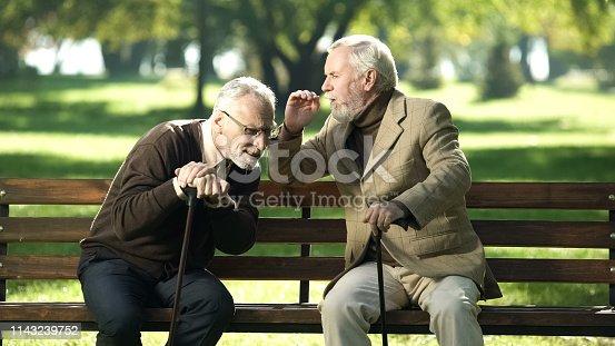 1029343276 istock photo Senior gentlemen talking to his hearing impairment old friend, health problems 1143239752