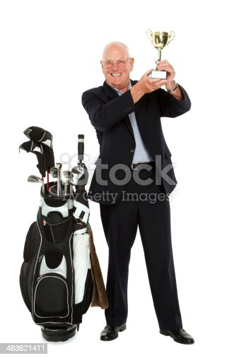 istock Senior golf champion on white 463621411
