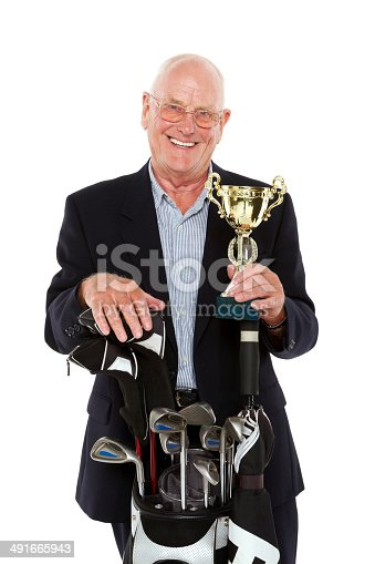 istock Senior golf champion with trophy 491665943