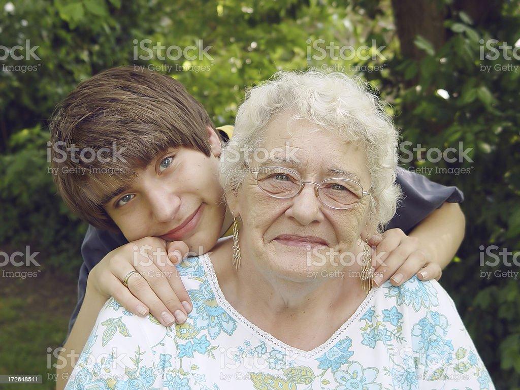 senior - grandson royalty-free stock photo