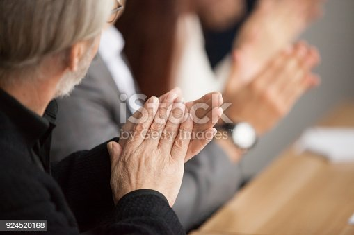 924519152 istock photo Senior gray-haired businessman clapping hands attending conference meeting, rear view 924520168