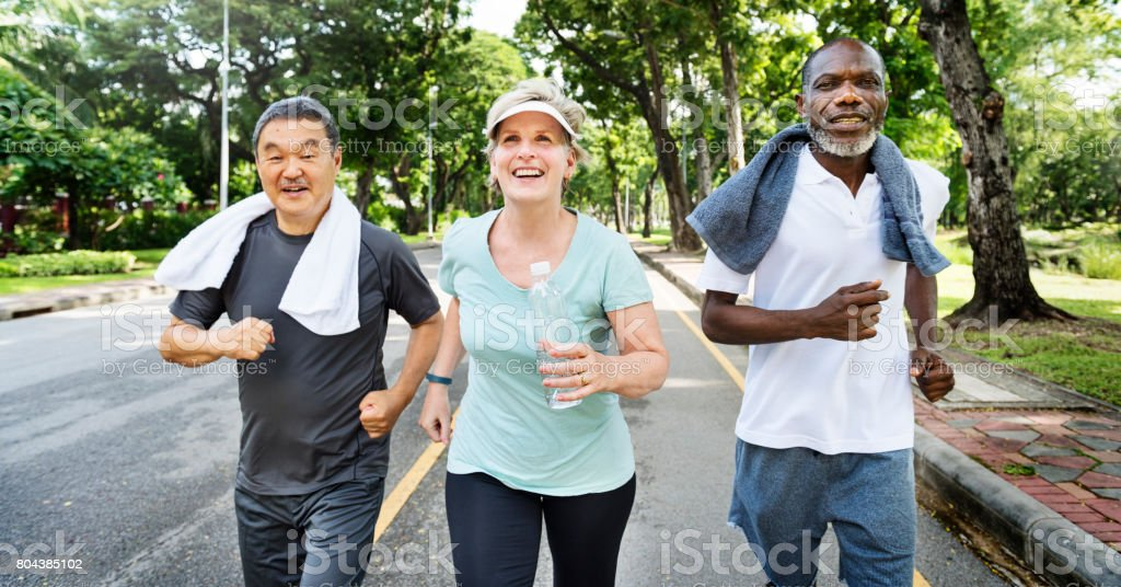 Senior Group Friends Exercise Relax Concept stock photo