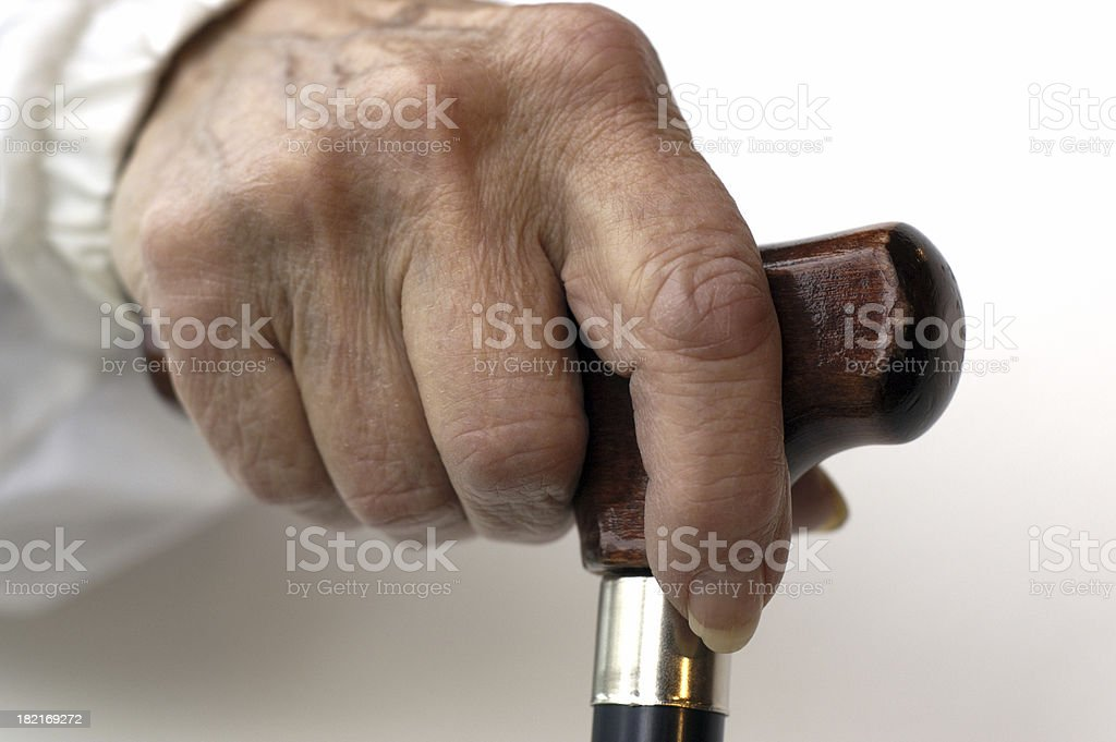 senior hand on cane (03) royalty-free stock photo